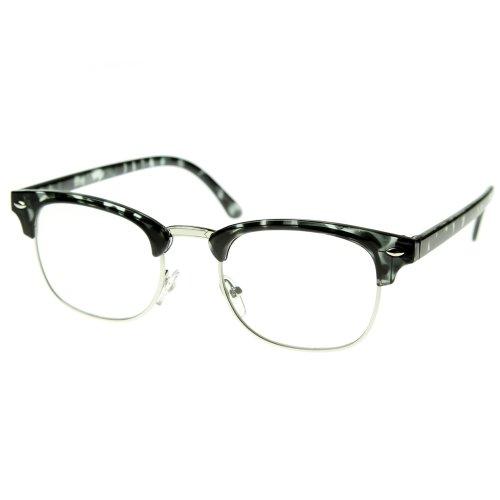 zeroUV - Vintage Inspired Classic Half Frame Horn Rimmed Clear Lens Glasses (Grey-Tortoise) (Plastic Half Tortoise Frame)