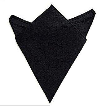- Whasmos Decor Genuine Premium Satin Plain Black Handkerchief Pocket Square Hanky 100% Soft And Thin That Come In 12 X 12 Inch Size