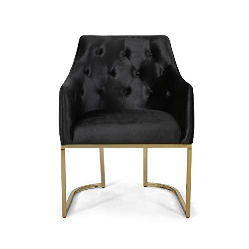 Fern Modern Tufted Glam Accent Chair with Velvet Cushions and U-Shaped Base, Black and Gold Finish