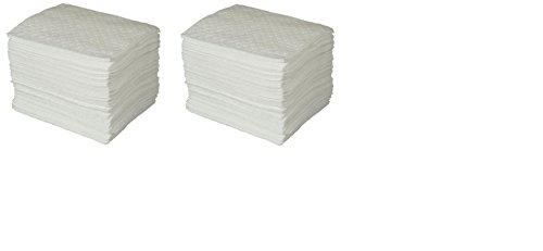 SPC BPO100 BASIC Oil Only Heavy Weight Pad, White, 15'' L x 17'' W (100 Per Bale) (2 Cases) by Brady SPC