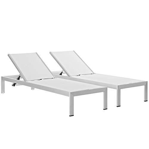Modway Shore Outdoor Patio Chaise Outdoor Patio Aluminum Set of 2 in Silver White ()
