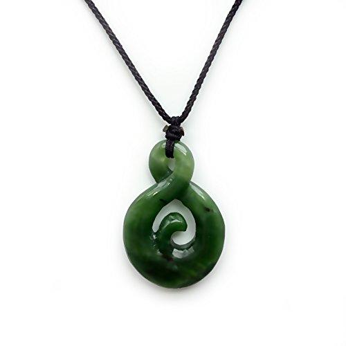 Bella Jade Genuine Nephrite Pendant, Infinity Twist Amulet / Talisman, Comes with (Jade Maori Twist)