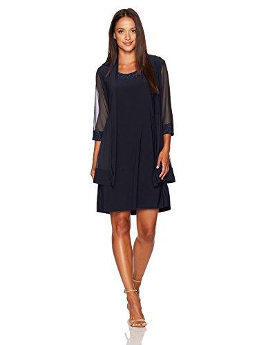 R&M Richards Women's Petite Glitter Trim Jacket Dress,Navy,PM (M&m Dress)