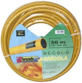Wurko - Manguera Malla Amarilla 15 mm 6 Bar, Rollo 50 Metros: Amazon.es: Jardín