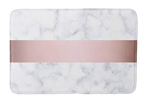 - Yesstd Elegant White Marble Rose Gold Faux Strip Absorbent Super Cozy Bathroom Rug Doormat Welcome Mat Indoor/Outdoor Bath Floor Rug Decor Art Print with Non Slip Backing 30