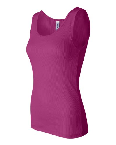 Bella Ladies '2 x 1 Rib 5.8 oz algodón camiseta de tirantes Berry