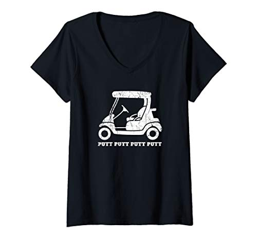 Womens Funny Golfer Gift Golf Cart Joke Putt Father Day Golfing Dad V-Neck T-Shirt