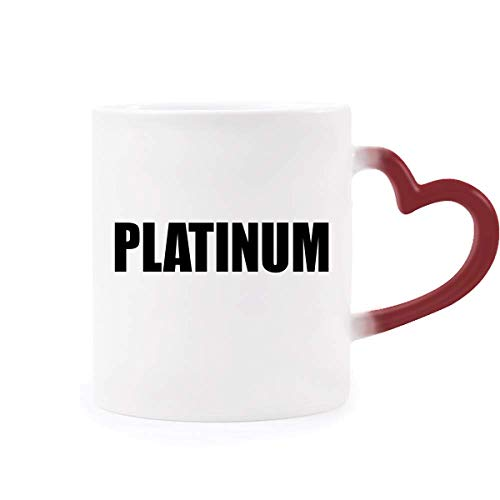 Platinum Element Name Chemistry Morphing Mug Heat Sensitive Red Heart Cup