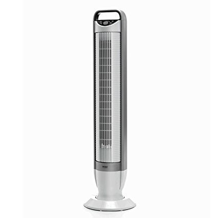 Seville Classics UltraSlimline 40 in. Oscillating Tower Fan with Tilt Feature, White 2-Pack
