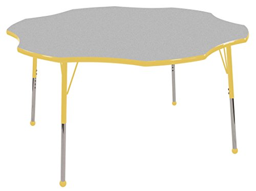 ECR4Kids 60'' Flower Shape Activity Table, Gray Top/Yellow Edge, Toddler Legs w/ Ball Glides and Six 10'' Yellow School Stack Chairs by ECR4Kids