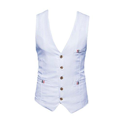 Mariage Yying Angleterre Sans Costume Simple Robe Poitrine Manches Hommes Gilet Gilets Style Bureau Mode De Blanc wFvnHxvqBS