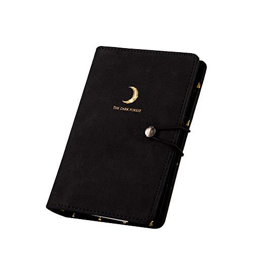 Binder Journal Planner Organizer Undate Calendar Monthly Planner Daily Planner Agenda Black Leather Spiral Diary with Dividers Pen Holder Notebook ()