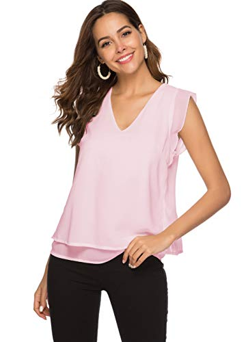 Alice CO Women's Summer Chiffon Cap Sleeve V-Neck Layered Blouse Shirts Casual Flowy Tank Tops (X-Large, Pink)