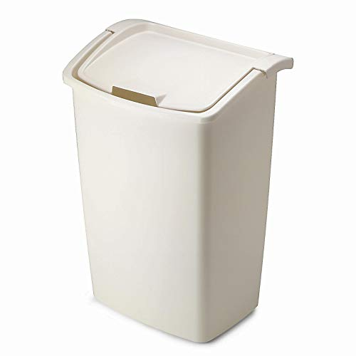 - Rubbermaid FG280300BISQU Dual-Action Swing Lid Trash Can for Home, Kitchen, and Bathroom Garbage, 11.25 Gallon, Off-White Bisque, 45-quart,