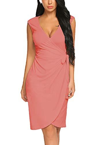 BLUETIME Women's V Neck Cocktail Bodycon Dress Cap Sleeve Work Pencil Wrap Dress (L, Pink) (Tulip Pink Dress)