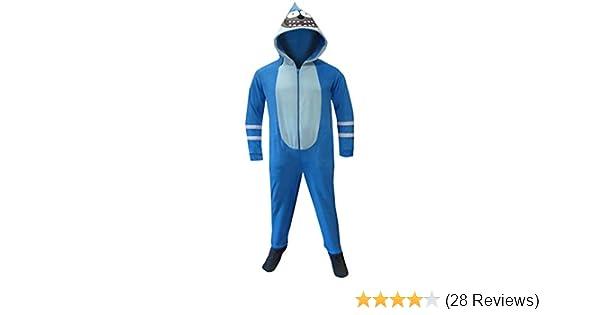 9f755dae3f05 Amazon.com  Regular Show Men s Mordecai Footie Onesie Pajamas with ...
