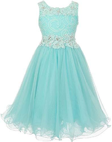 Big Girls' See Through Waistline Lace Pageant Bridesmaid Flowers Girls Dresses Aqua Size 10 -