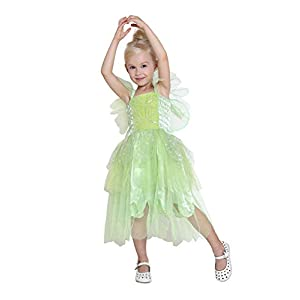 Girls Princess Tinkerbell Long Dress Halloween Cosplay Costume