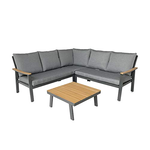 Aluminum Sectional Frame - Great Deal Furniture Madison Outdoor Aluminum Sofa Sectional with Faux Wood Accents and Cushions, Gray and Gray