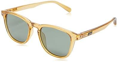 Local Supply Men's CITY Polarized Sunglasses - Dark Green Tint Lens, Polished Beige Frames