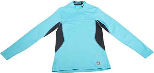 Nike Mens Hyperwarm Mock Turtle Neck Long Sleeve Athletic Shirt Turquiose Small Turquiose