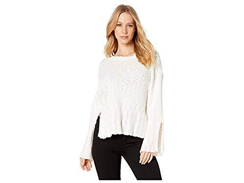 cupcakes and cashmere Women's Kaya Cotton slub Boatneck Sweater with Split Sleeve, Ivory, Large