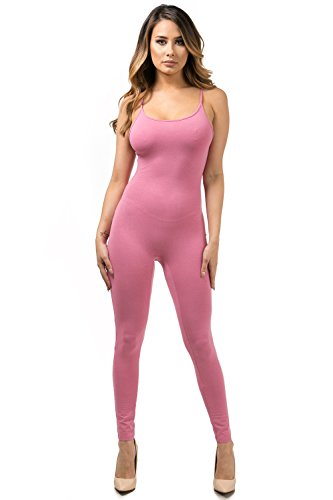 Staand Apparel Womens Sexy Spaghetti Strap Catsuit Unitard Tank Jumpsuit - One Piece Bodysuit Rompers Playsuit Party (Medium, Dusty (Pink Catsuit)