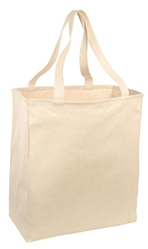 Large Heavy Canvas Twill Grocery Tote Bag (6, NATURAL)
