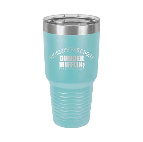 World's Best Boss Dunder Mifflin - Engraved Tumbler Wine Mug Cup Unique Funny Birthday Gift Graduation Gifts for Women The Office Dunder Mifflin Tv Show (30 Ring, Baby Blue)