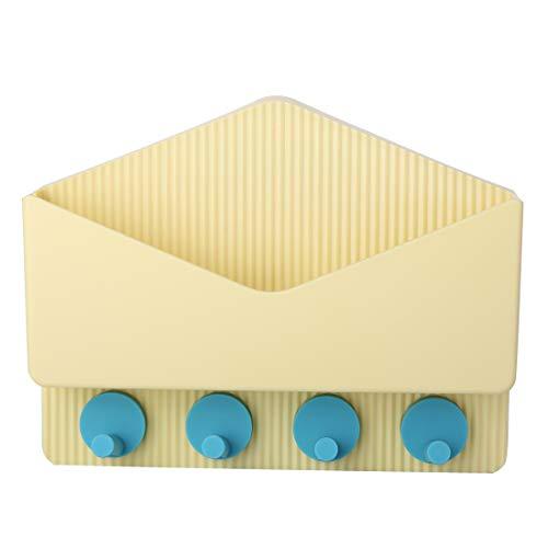 Wowye Mails Letters Basket, Drill Free Key Rack Holder Wall,Entryway Storage Basket 4 Hooks