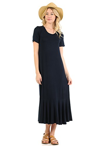A-line Jersey - iconic luxe Women's A-Line Ruffle Hemline Midi Dress X-Large Navy
