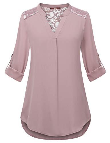 Gaharu Chiffon Shirt Blouse Ladies Summer Cool Clothes V Neck 3/4 Sleeve Tunic for Work Casual Curve Hem Lace Crochet Top Dark ()