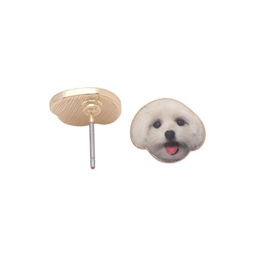 Maltese White Puppy Dog Stud Earrings Enamel From the Ginger Lyne Collection