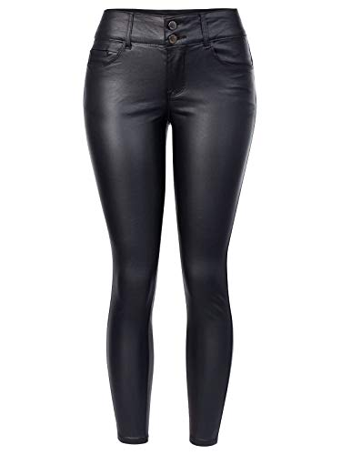 Instar Mode Women's Stretchy Faux Leather Skinny Coated Legging Two Buttons Pants,Ipaw026 Black,Small