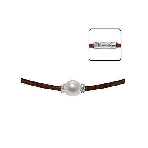 Collier Cuir et Perle de Culture Blanche et Argent 925/1000 -Blue Pearls-BPS K254 W
