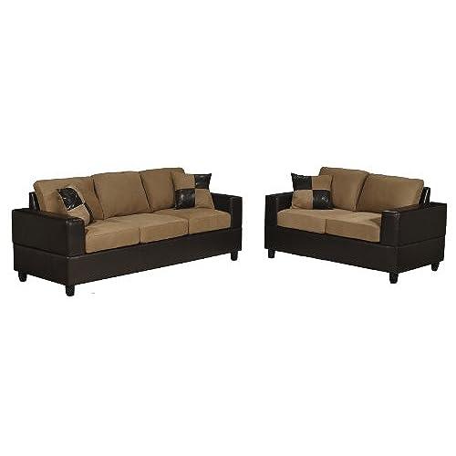 Bobkona Seattle Microfiber Sofa And Loveseat 2 Piece Set In Saddle Color