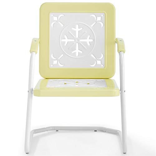 Crosley Furniture CO1026-YE Azalea Retro Metal Chairs (Set of 2), - Metal Outdoor Vintage Furniture