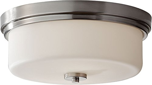 Feiss FM370BS Kincaid Glass Flush Mount Ceiling Lighting, Satin Nickel, 2-Light (13