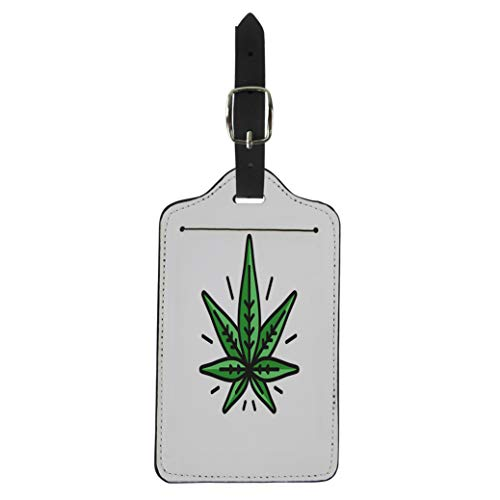 Semtomn Luggage Tag Green 420 Cannabis Silhouette Hemp of Emblem Ganja Symbol Suitcase Baggage Label Travel Tag Labels