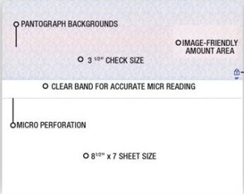 EGP Blank Laser Top Checks on 8 1/2 x 7'' Sheets, 2500 Count, Blue/Red Prismatic by EGPChecks