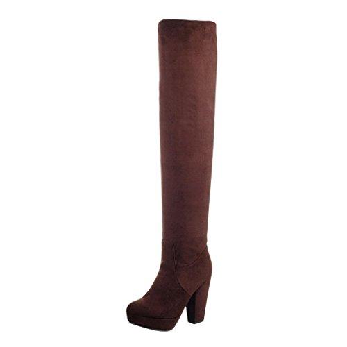 Hee Grand Winter Damen Elegant High Heels Overknee Stiefel Boots Braun