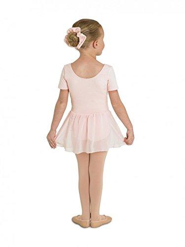 Kinder Ballettanzug aus Baumwolle, ROSA, Kurzarm, mit langem Voile-Röckchen Gr.6-7