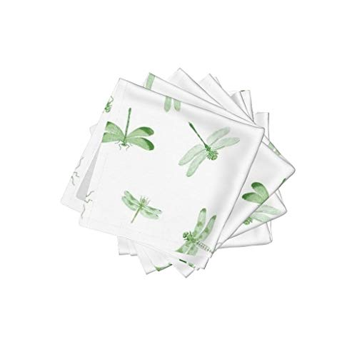 Roostery Dragonflies Linen Cotton Cloth Cocktail Napkins - Toile Green Insects Vintage Biology Nature by Bettina Pedersen (Set of 4) 10 x 10in