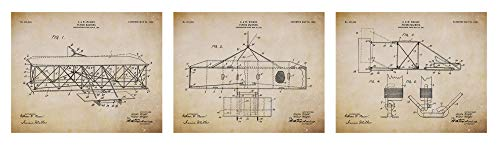 Collectibles and Video Inc. Lost Wright Brothers Patent Prints - Airplane Patent Posters - Flying Machine Invention - Aviation Artwork - Set of 3 (8x10) Pictures - Vintage Wall Art Décor (Beige)