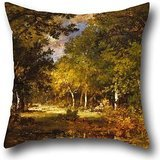 Oil Painting Narcisse-Virgile Diaz De La Peña - Forest Scene Cushion Covers 20 X 20 Inches / 50 By 50 Cm Gift Or Decor For Festival,car,family,bar Seat,kids Girls,couch - 2 Sides