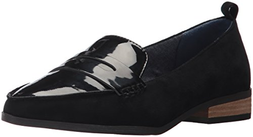 Dr. Scholl's Women's Eclipse Penny Loafer, Black Microfiber/Patent, 8 M (Patent Penny Loafer)