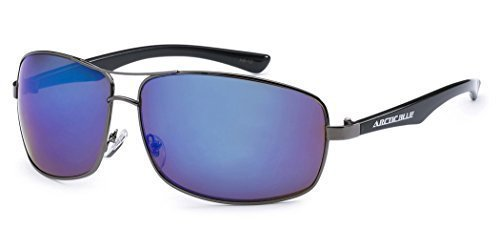 L-XL Arctic Blue Mens Sports Mirrored Sunglasses Ice - Blue Sunglasses Arctic