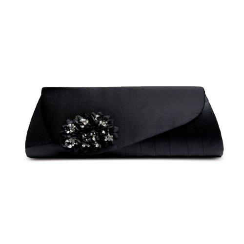 SAPPHIRE BOUTIQUE Zapatos De Vestir Mujer Floreado Cuentas Tacón Bajo Punta Abierta A Juego Cn Bolso Clutch Negro (bolso)