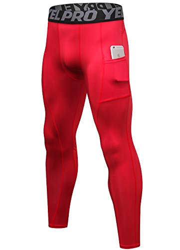 SILKWORLD Men's Compression Pants Pockets Cool Dry Sports Leggings Baselayer Running Tights, Red, XXL (Leggings Red Tights)