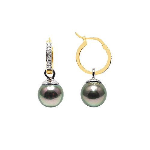 Boucles d'Oreilles Perles de Tahiti, Diamants et Or Jaune 750/1000 -Blue Pearls-BPS K356 W